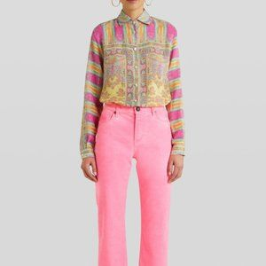 Etro Pink Painted Straight Leg Crop Jeans 26